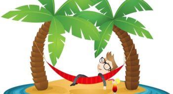 Businessman, beach, vacation, hammock, relaxing